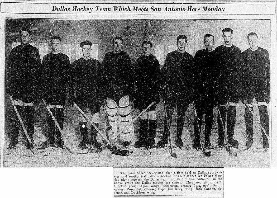 This old newspaper clipping shows the lineup of the 1927 Dallas Ice Kings. Third from right is team captain Jim Riley, who is the only person ever to play in Major League Baseball and the National Hockey League. Image courtesy of The Dallas Morning News HIstorical Archives