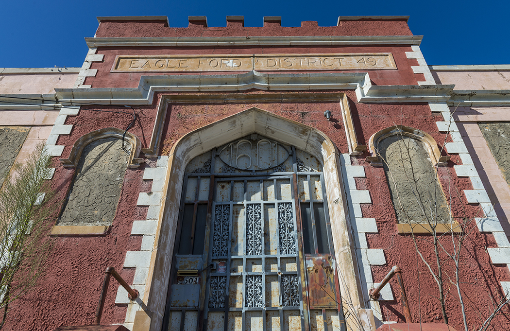 The Eagle Ford School on Chalk Hill Road is in the gothic revival style and was constructed in 1923 of concrete. Preservationists are moving to make the building a designated historic landmark. (Photo by Danny Fulgencio)