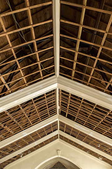 The Lotts like how the exposed rafters look, but that wouldn't be historically accurate, so a new ceiling is being installed in the sanctuary. (Photos by Danny Fulgencio)
