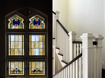 The Lotts hired a craftsman to work onsite restoring the church's dozens of windows to historical accuracy. They also added restrooms and have plans for a wheelchair lift to bring the building into compliance with the Americans with Disabilities Act. (Photos by Danny Fulgencio)