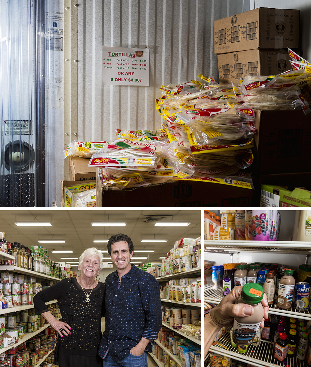 Clockwise from top: Tortillas for sale inside the walk-in cooler. Expensive juices sell for a fraction of the retail price. Gluckman with his right-hand woman, Sharon Gilbert. (Photo by Danny Fulgencio)