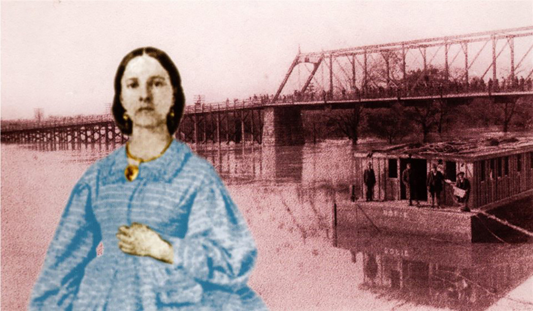 """A photo montage of Sarah Cockrell and one of the old Commerce Street bridges. (Photos courtesy of """"Sarah — The Bridge Builder: Dowager of a Dallas Dynasty"""" by Vivian Castleberry and the Dallas Public Library)"""