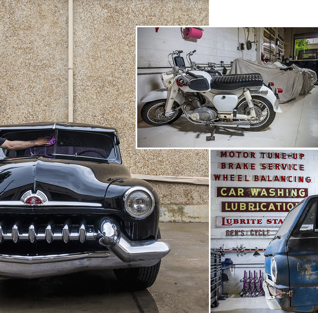 Clockwise from left: Jeff Milburn's 1951 Mercury; one among his multitude of motorcycles; part of his collection of automotive-related signs. (Photos by Danny Fulgencio)