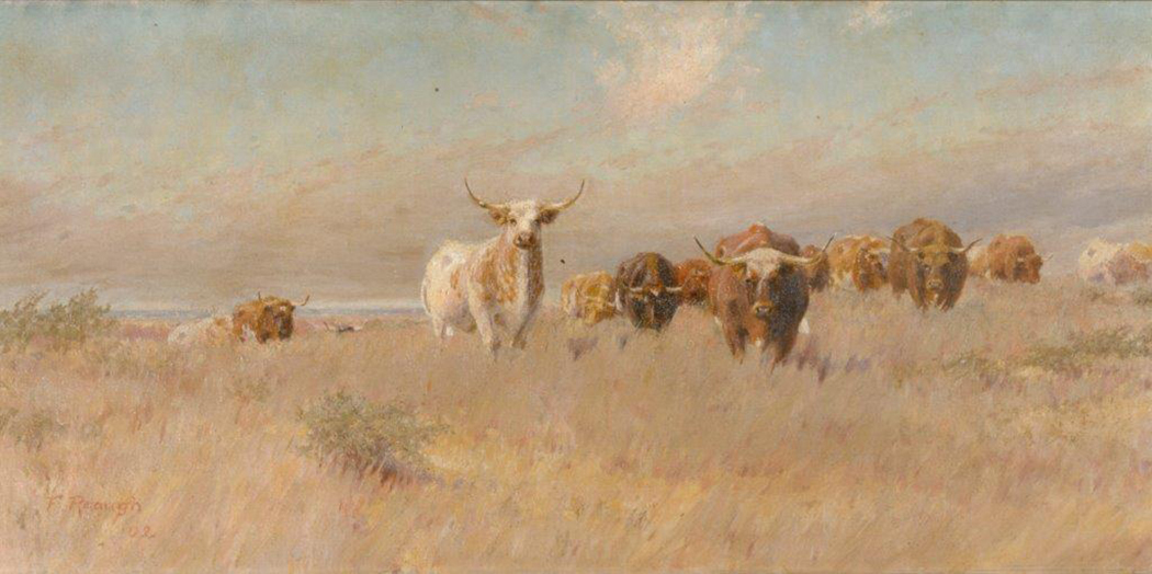 A painting of cattle on a prairie by impressionist Frank Reaugh.