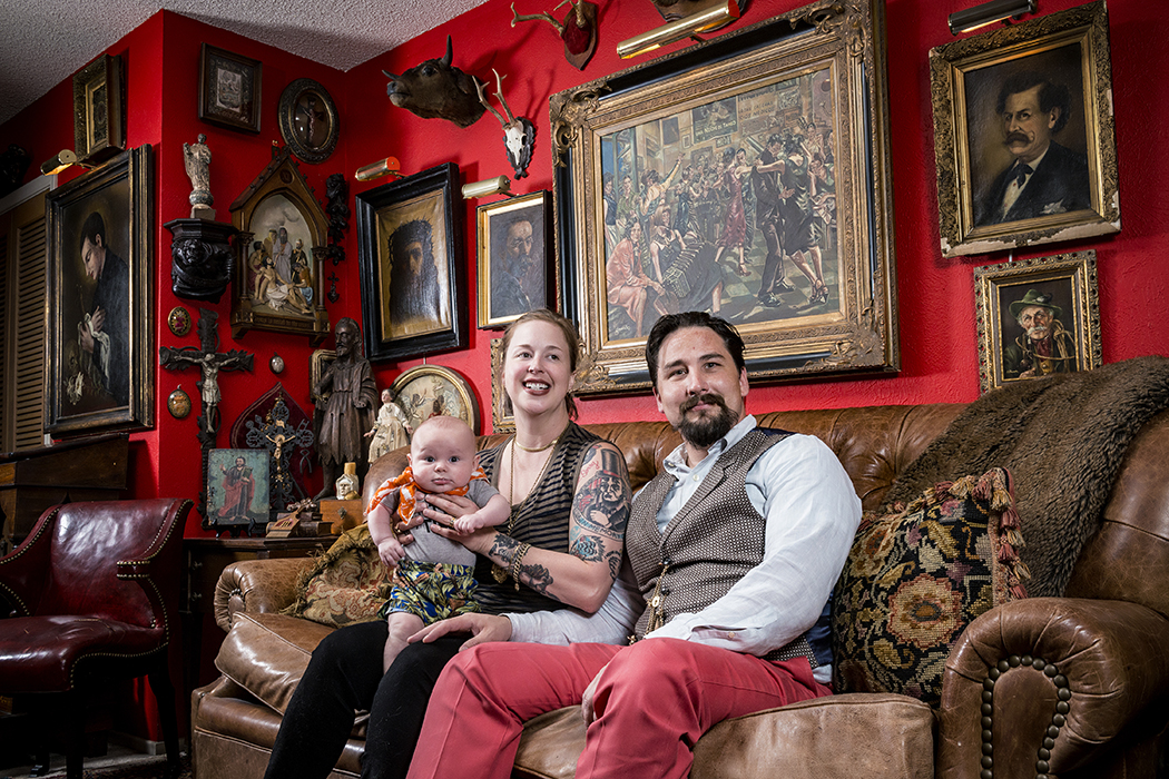Gretchen Bell and Benny Hinkle at home with their son Furious. (Photo by Danny Fulgencio)