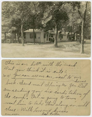 A postcard sent by a tourist from Dal-Oak Tourist Camp.