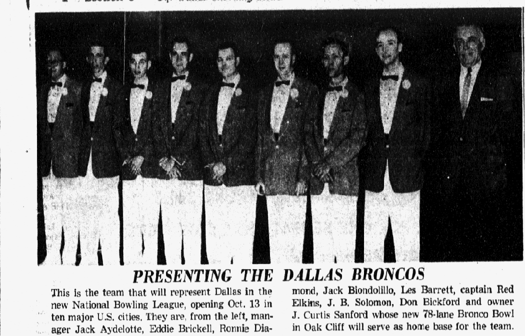 The Dallas Broncos lineup included Eddie Brickell, whose daughter, Edie, is the famous singer/songwriter. (Photo Courtesy Of The Texas/Dallas History And Archives Division, Dallas Public Library And The Dallas Morning News Historical Archives)