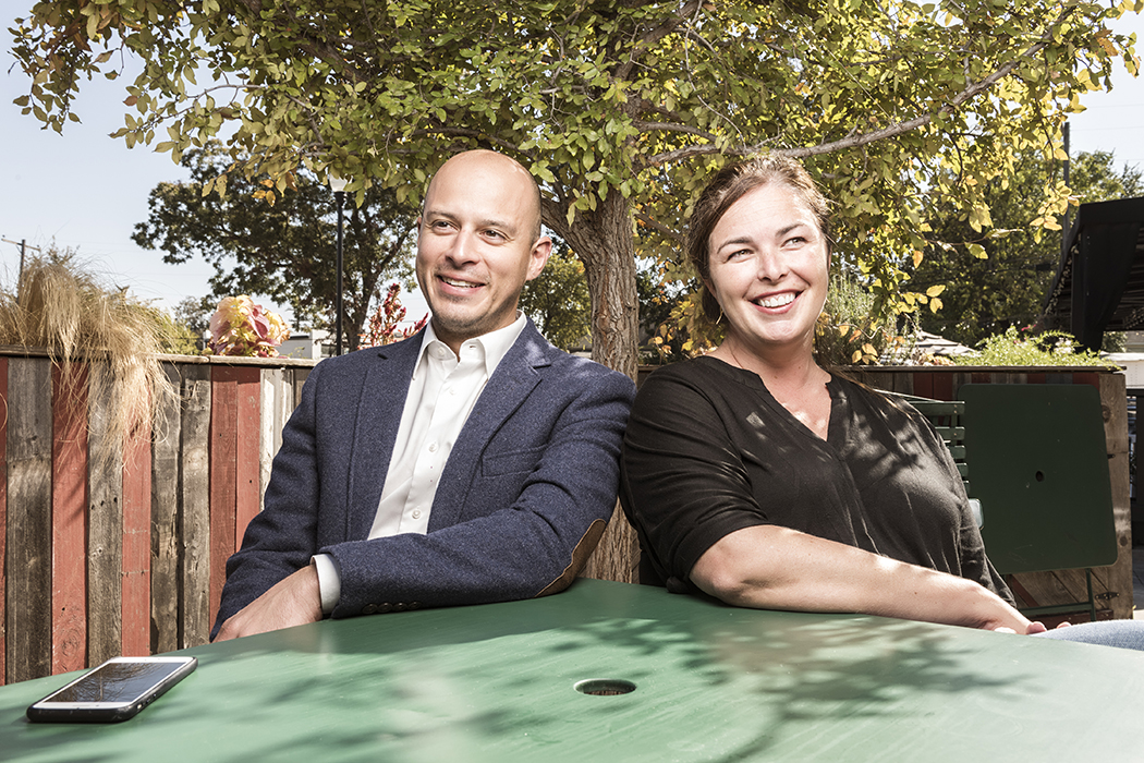 Andrew Snow, left, is turning Go Oak Cliff into a neighborhood-wide effort as the group's co-founder Amy Wallace Cowan, right, departs. (Photo by Danny Fulgencio)
