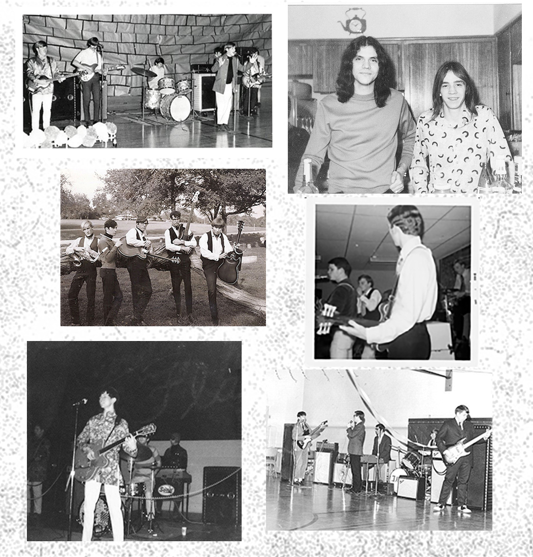 Clockwise from top left: An Oak Cliff band performs at a school dance, Stevie Ray Vaughan, right, with John Michael Soria, the Sounds in Motion performing at Carter High School, Dust perfoming in a high school gym, another pic of Dust, Five of a Kind pose for a photo at Kiest Park.