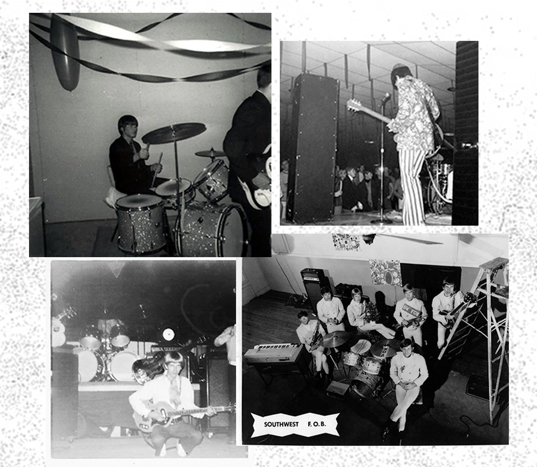 "Clockwise from top left: Richard Davies on drums, Rollie Anderson on bass, John Ford Coley warming up at Candy's Flare, a publicity shot for Southwest F.O.B., which played frequently in Oak Cliff and had a hit with ""Smell of Incense."""