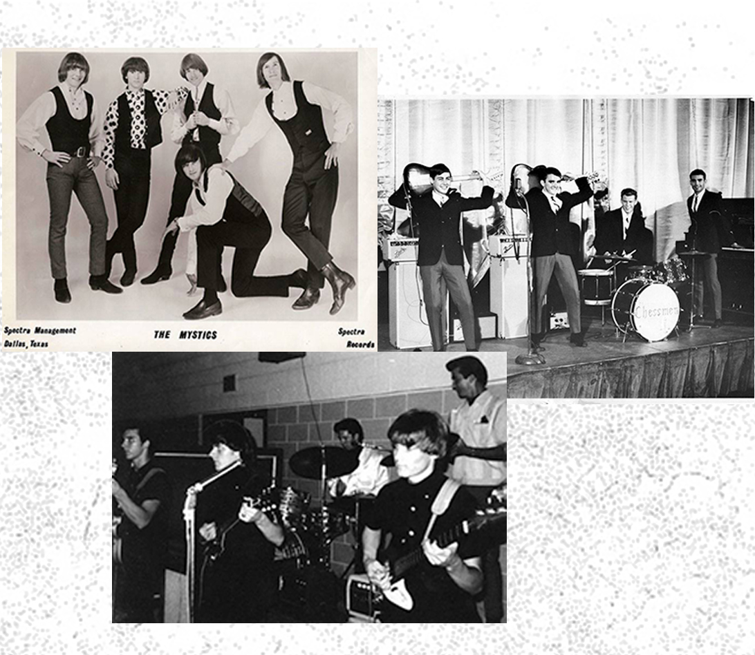 Clockwise from top left: A publicity shot of The Mystics, The Chessmen and The Mystics performing live.