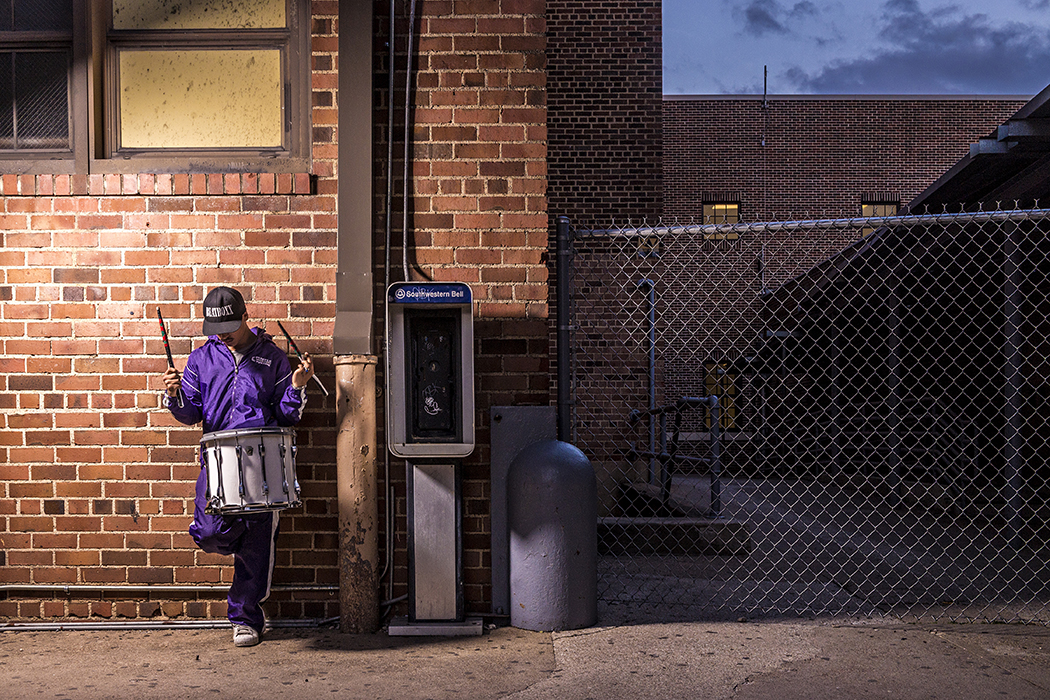 Paul Mata Jr., a 2017 Sunset High School drum major, posts up outside the school. Mata joined the Prairie View A&M University band this past fall. (Photo by Danny Fulgencio)