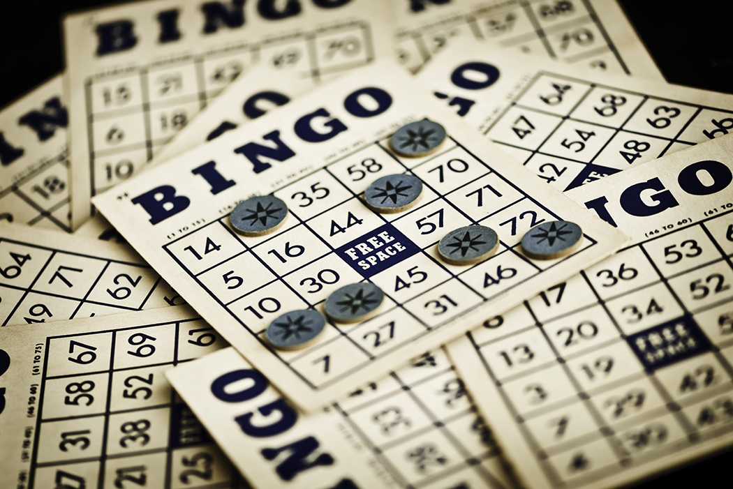 Vintage bingo cards and markers