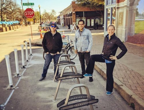 Bike and motor-scooter corral lands in Bishop Arts