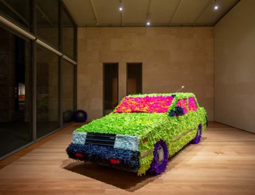 Artist Giovanni Valderas brings a 1986 Nissan Sentra piñata to the Nasher Sculpture Center